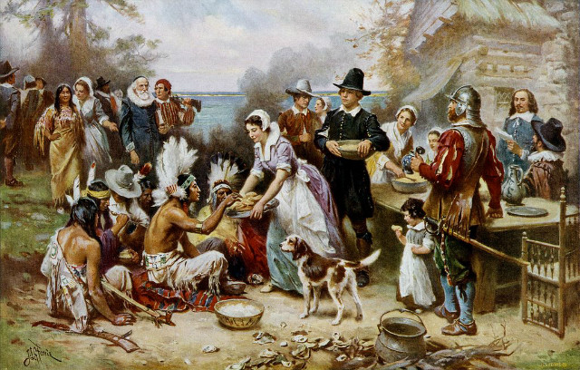 The First Thanksgiving 1621 oil on canvas by Jean Leon Gerome Ferris 1899. Pilgrims did not wear such outfits, and the Wampanoag are dressed in the style of Native Ameri.jpg