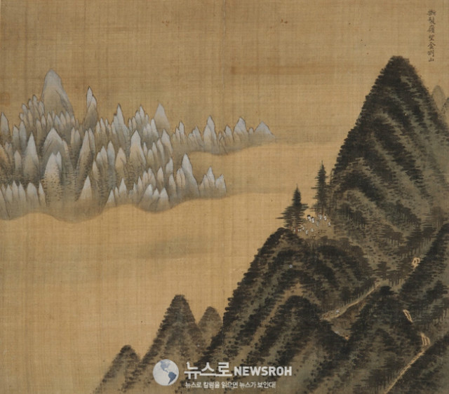 Figure 1 Jeong Seon. Mount Geumgang Viewed from Danbal Ridge, leaf from the Album of Mount Geumgang, 1711. Ink and light color on silk. National Museum of Korea, Seoul. Treasur.jpg