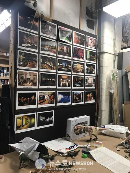 위에 사진은 백스테이지() 마이클 팀멤버들 작업공간입니다 본인의 10년근무 특별전시사진들이라고합니다.jpg