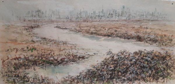 a breanch of the Hudson River, 2017, conte, watercolor on hanji, 56x 95cm.jpg