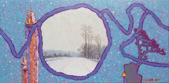Along the Road - Love Road, Snowing Otterkill Rd _ Oil on Canvas _ 20 x 10 _ 2018.jpg