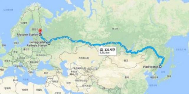 러시아 횡단 열차 지도 , 러시아는 나에게 행운의 땅이었다..jpg