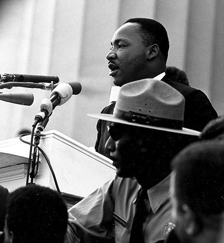 King gave his most famous speech, I Have a Dream, before the Lincoln Memorial during the 1963 March on Washington for Jobs and Freedom..jpg