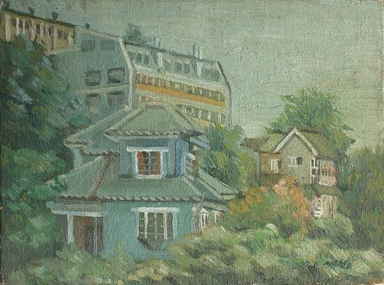 흑석동 일본집 작업실에서 보이는 풍경 1977년작(대학 1학년때).jpg